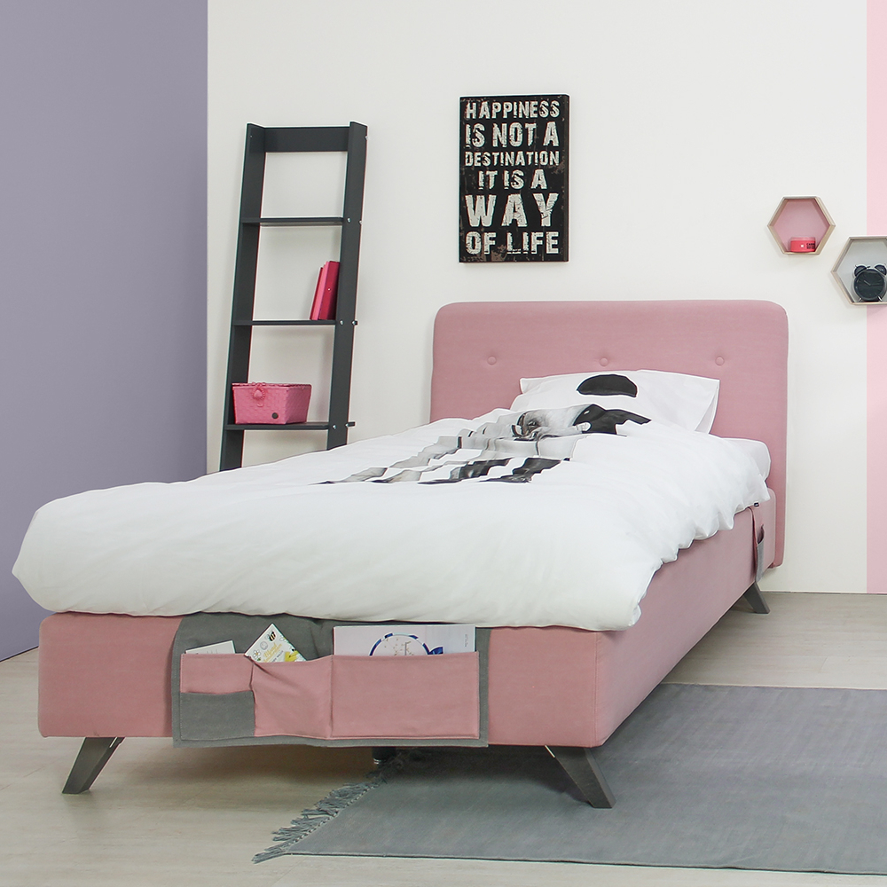 bopita boxspringbett levi f r teens rose mit betttaschen. Black Bedroom Furniture Sets. Home Design Ideas