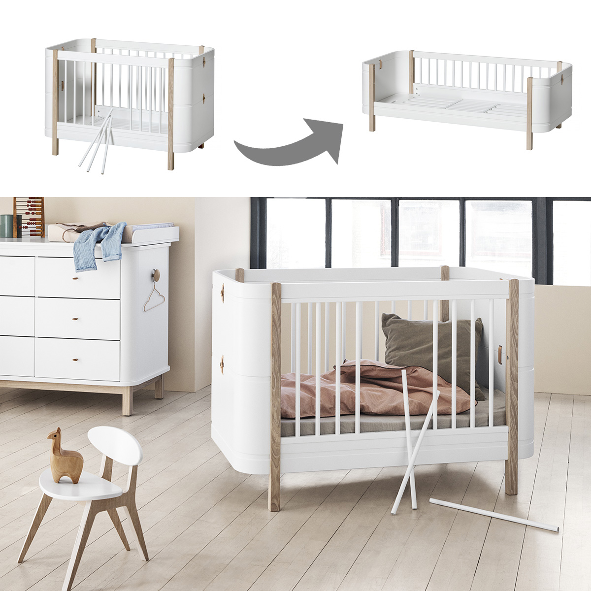 oliver furniture wood mini set babybett juniorbett. Black Bedroom Furniture Sets. Home Design Ideas