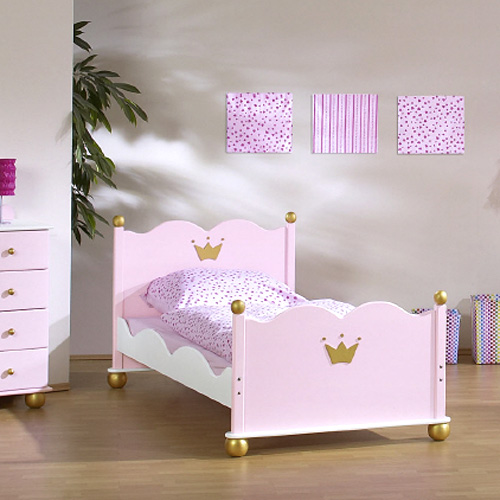 prinzessinenbett kinderbett prinzessin karolin 90x200cm rosa wei massivholz dannenfelser. Black Bedroom Furniture Sets. Home Design Ideas
