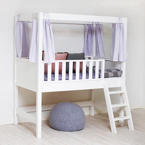 sanders halbhohes bett fanny cabin mit himmelaufsatz 90x200cm schneewei dannenfelser. Black Bedroom Furniture Sets. Home Design Ideas