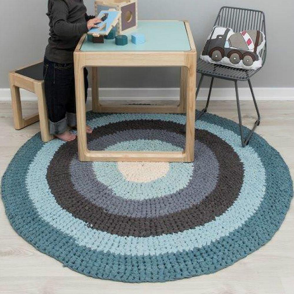 Kinderteppich blau rund  Sebra Kinderteppich / Teppich KREISE, pastell blau, rund Ø 120cm ...