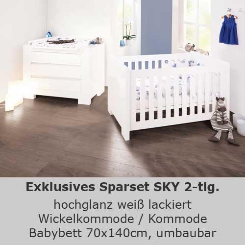 Kinderzimmersparset Sky 2 Tlg Hochglanz Weiss Babybett