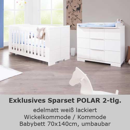 kinderzimmersparset polar 2 tlg edelmatt wei babybett wickelkommode dannenfelser kinderm bel. Black Bedroom Furniture Sets. Home Design Ideas