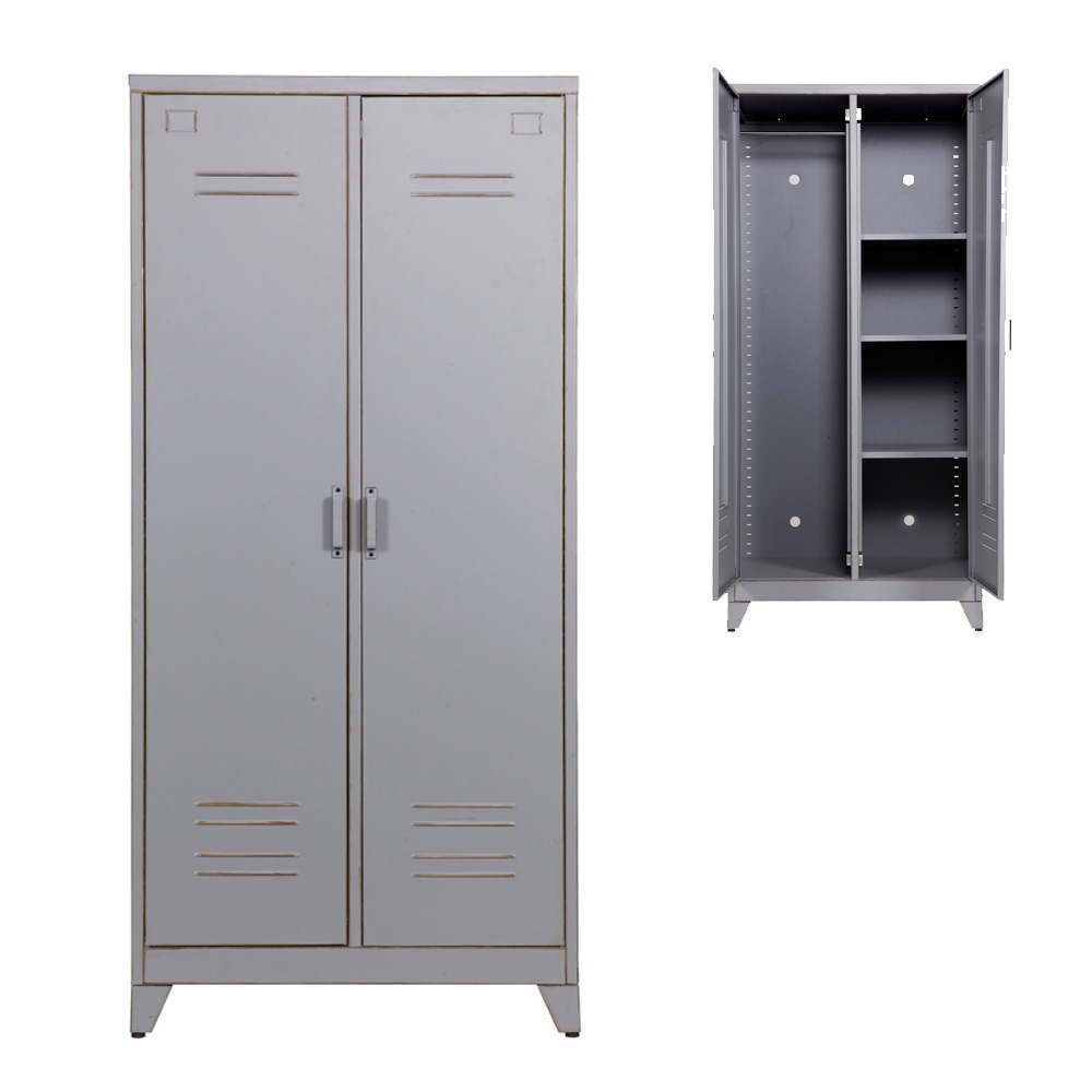 kleiderschrank spind max 2 t rig metall grau. Black Bedroom Furniture Sets. Home Design Ideas