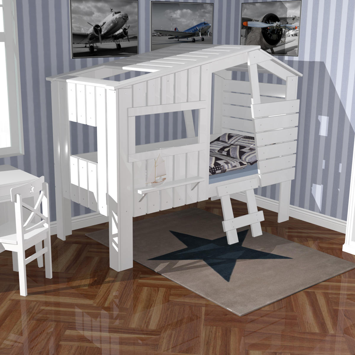 h ttenbett spielbett strandhaus weiss massivholz 90x200cm g nstig online kaufen. Black Bedroom Furniture Sets. Home Design Ideas
