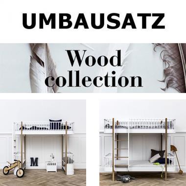 Oliver Furniture Umbausatz WOOD COLLECTION, Hochbett Zum Etagenbett  Weiß/Eiche