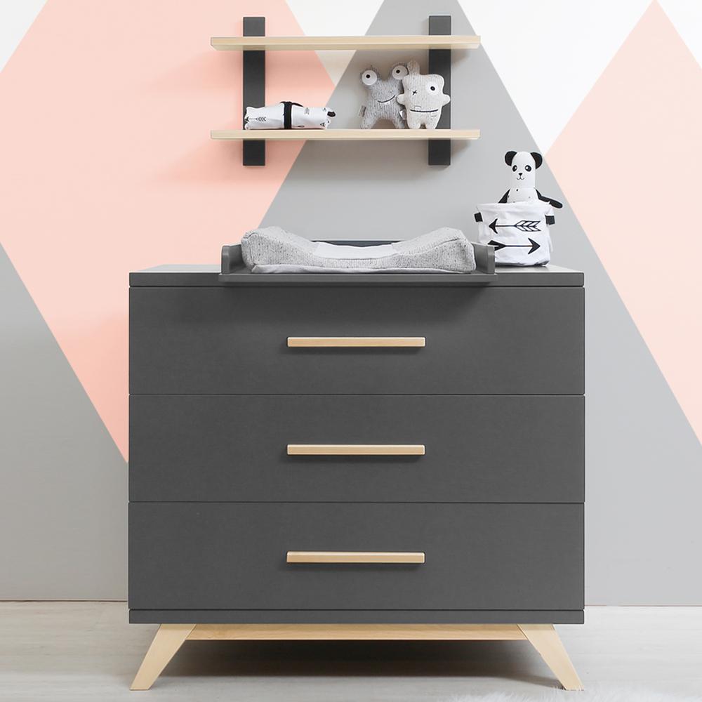 bopita wickelkommode kyan kommode mit wickelaufsatz 3 schubladen soft close dunkelgrau buche. Black Bedroom Furniture Sets. Home Design Ideas