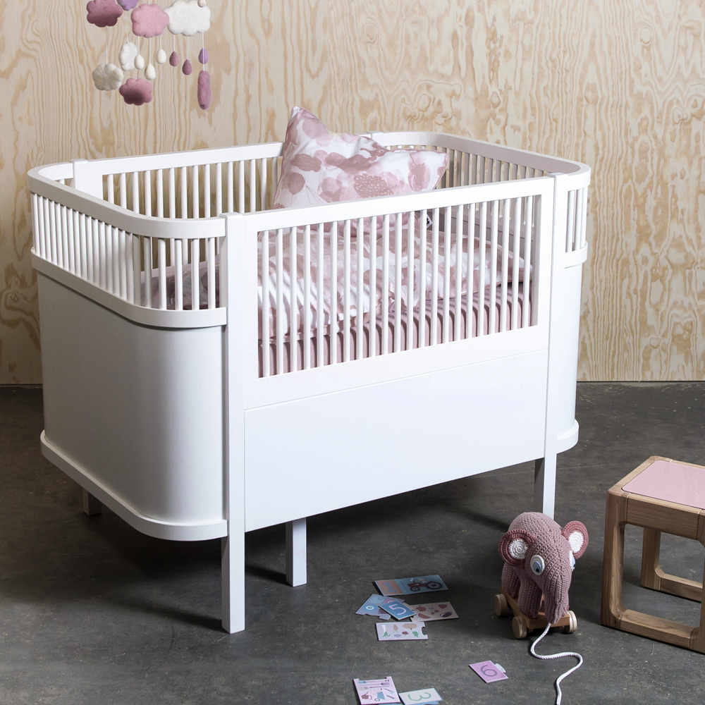 Sebra Bett Babybett Kinderbett Weiss Oval Ausziehbar