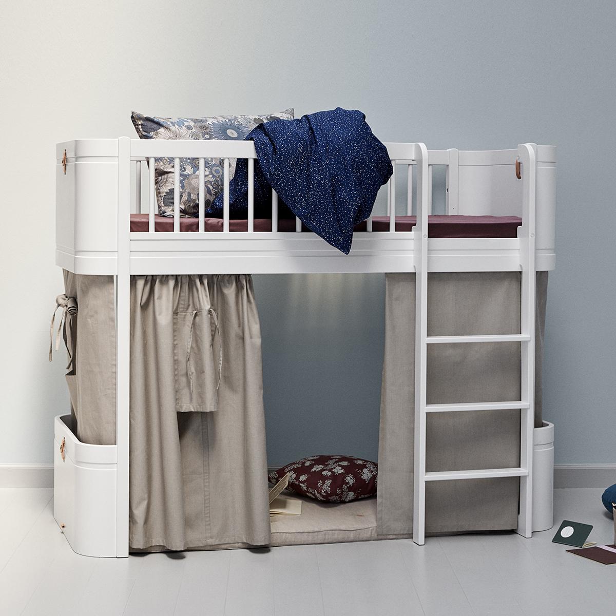 oliver furniture wood mini halbhohes hochbett weiss h he 132cm dannenfelser kinderm bel. Black Bedroom Furniture Sets. Home Design Ideas