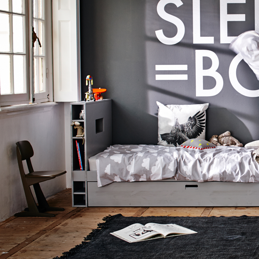 jugendbett bunky mit regal g stebett holz kiefer grau. Black Bedroom Furniture Sets. Home Design Ideas