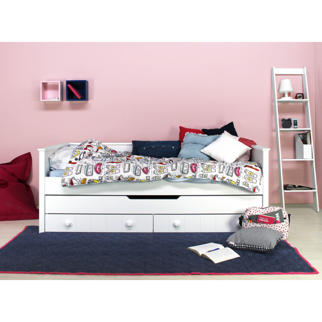 bopita tagesbett kojenbett narbonne wei 3 schubladen 90x200cm dannenfelser kinderm bel. Black Bedroom Furniture Sets. Home Design Ideas