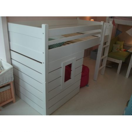 Hochbett Spielbett hochbett spielbett hüttenbett massivholz weiß umbaubar