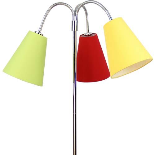 stehlampe jugendlampe flexa 3 bunte lampenschirme fu chrom h he 170cm dannenfelser. Black Bedroom Furniture Sets. Home Design Ideas