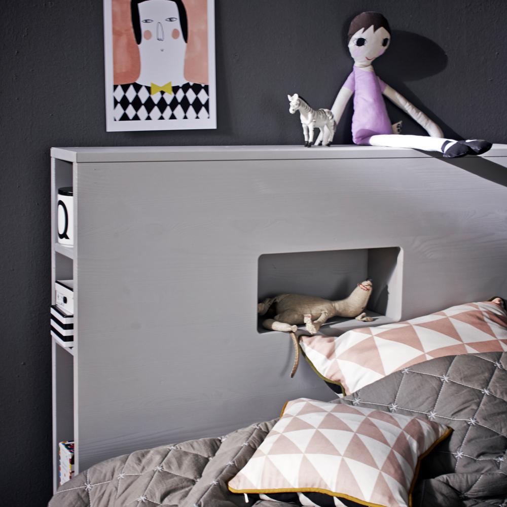 jugendbett bunky mit regal g stebett holz kiefer grau 90 x 200 cm dannenfelser kinderm bel. Black Bedroom Furniture Sets. Home Design Ideas