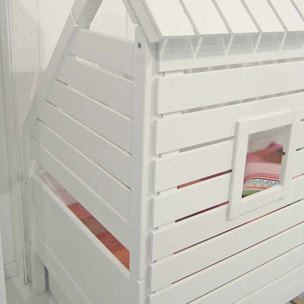Spielbett Kinderbett ROOFUS für schräge Wände/Dachschrägen, weiss ...