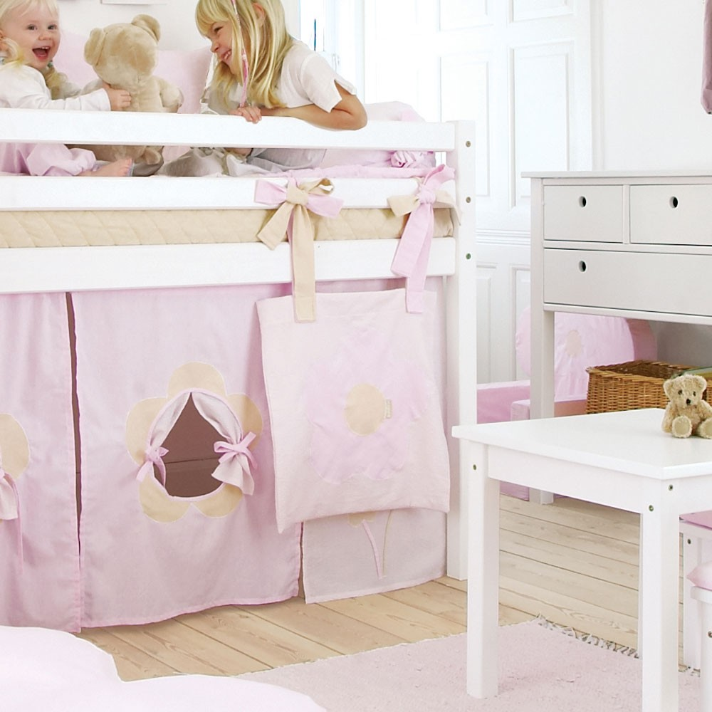 vorhang spielvorhang f r spielbett flower rosa. Black Bedroom Furniture Sets. Home Design Ideas