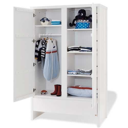 kinderkleiderschrank kleiderschrank aura massivholz fichte wei lasiert 2 t rig dannenfelser. Black Bedroom Furniture Sets. Home Design Ideas