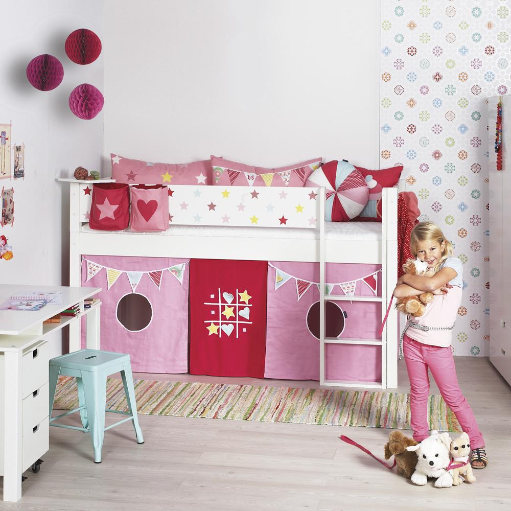 Manis-H Bettvorhang / Spielvorhang TICTACTOE, 197x87x77cm, rosa-pink ...
