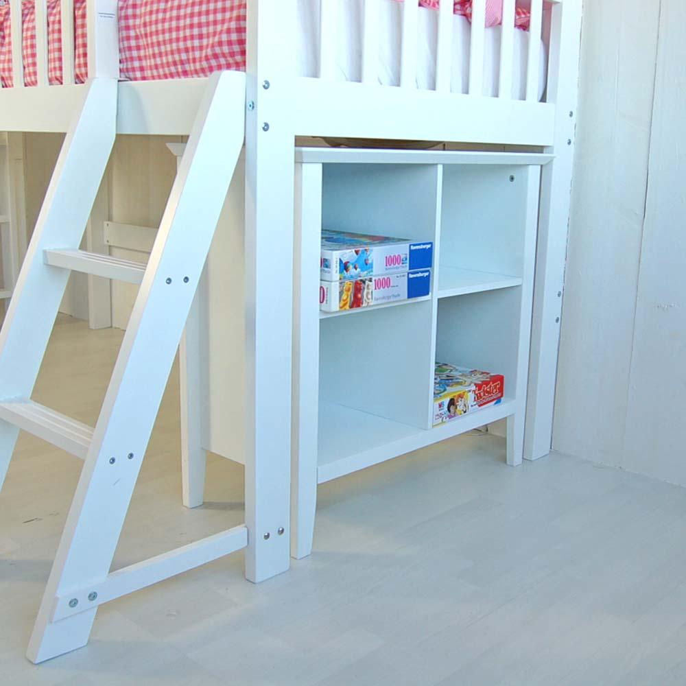 set hochbett halbhohes bett chalet inkl kinderregal. Black Bedroom Furniture Sets. Home Design Ideas