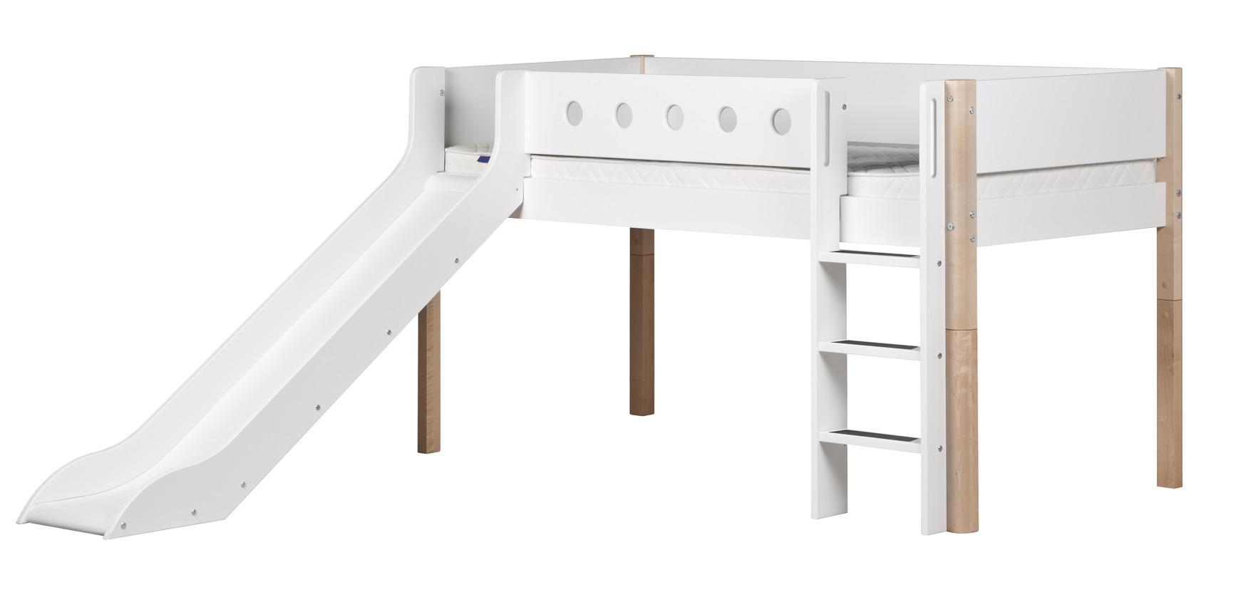 flexa halbhohes bett mit rutsche 90 x 200 cm h he 120cm. Black Bedroom Furniture Sets. Home Design Ideas