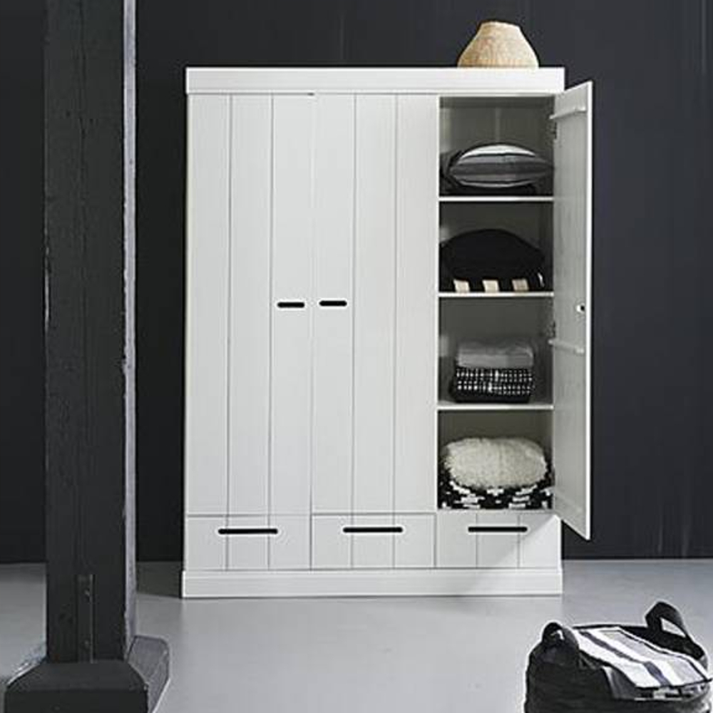 kinderm bel kleiderschrank connect woood 3 t rig 3 schubladen massivholz kiefer wei. Black Bedroom Furniture Sets. Home Design Ideas