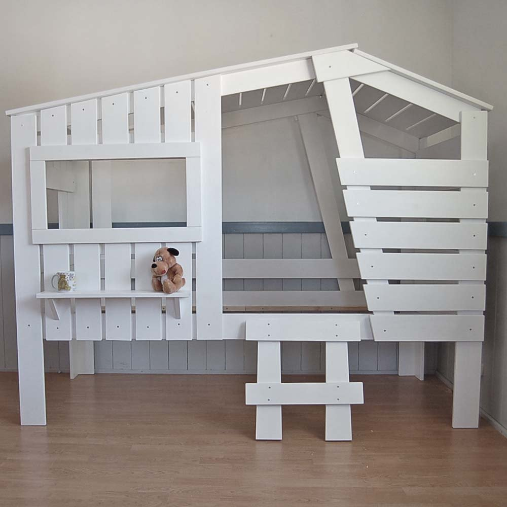 h ttenbett spielbett strandhaus weiss massivholz 90x200cm dannenfelser. Black Bedroom Furniture Sets. Home Design Ideas
