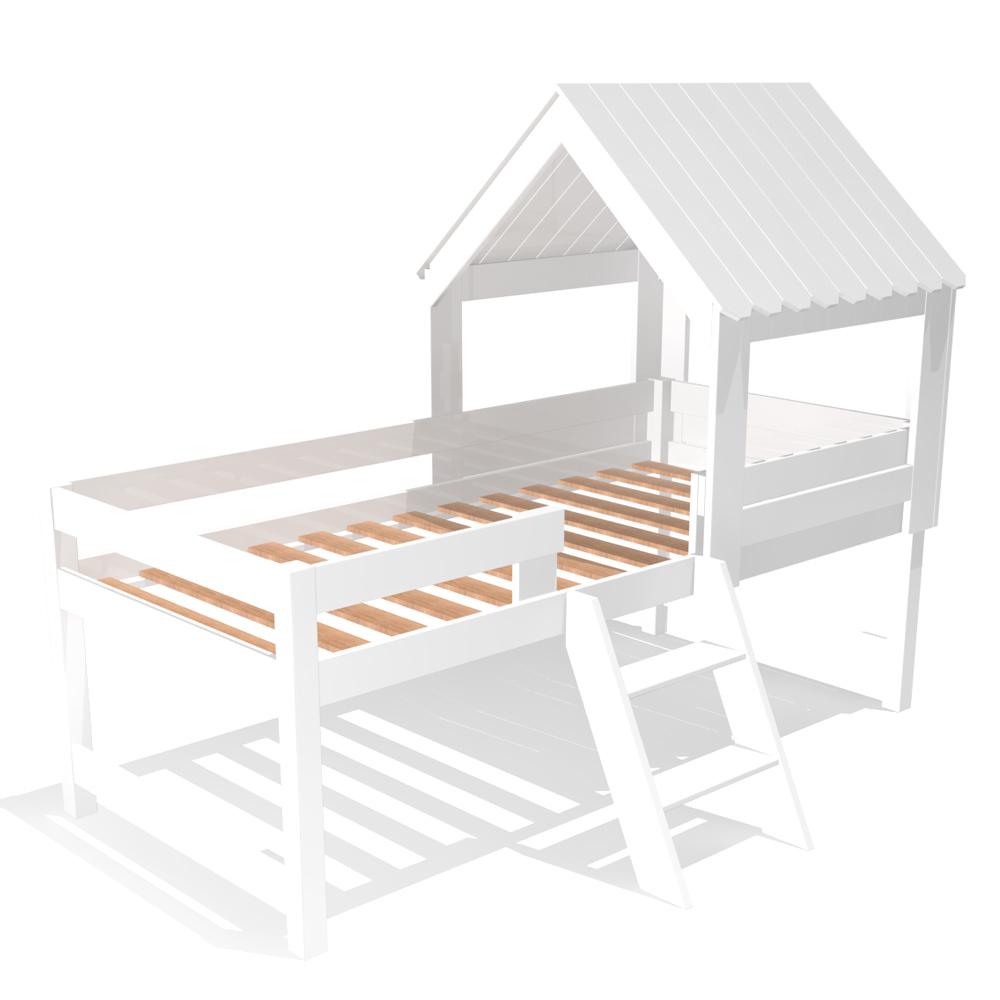 spielbett baumhaus f r kleine abenteurer inkl lattenrost massivholz wei 90x200cm. Black Bedroom Furniture Sets. Home Design Ideas