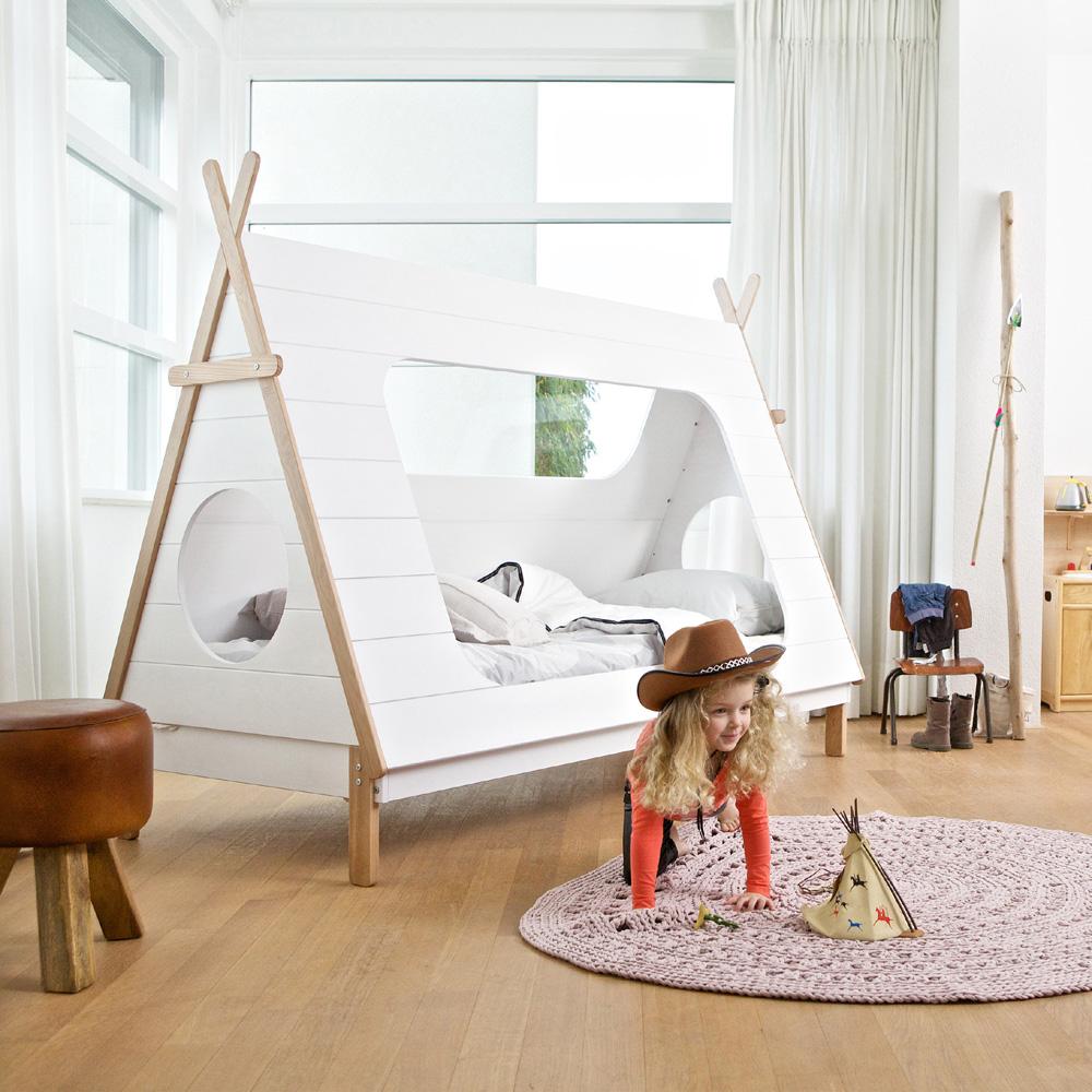 Abenteuerbett / Spielbett TIPI, Kiefer, weiß lackiert, 90x200cm ... | {Spielbett 40}