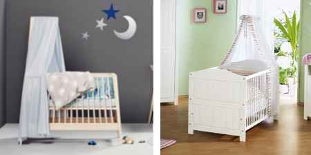 babybetten mit himmel oder nestchen als bettset. Black Bedroom Furniture Sets. Home Design Ideas